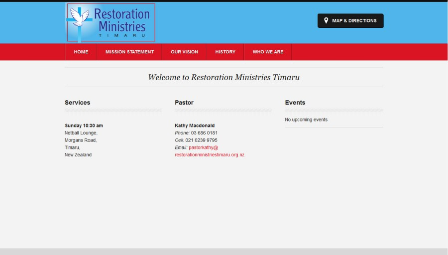 Screenshot of Restoration Ministries Timaru website