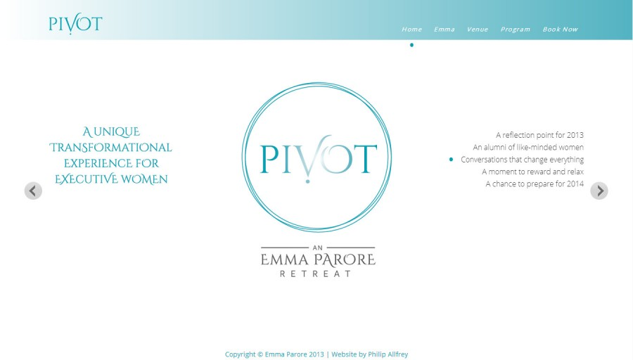 Screenshot of Pivot Retreat website
